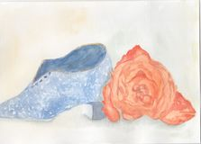 Miniature vintage ceramic shoe with an orange flower. A watercolour painting of a miniature vintage old ceramic blue shoe with a bright orange flower Royalty Free Stock Images