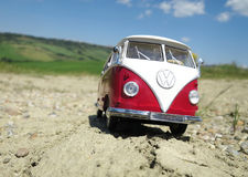 Miniature VW Bulli 1962 on the rural road Stock Images