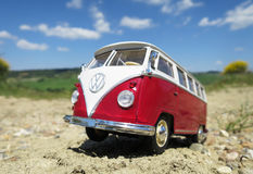 Miniature VW Bulli 1962 on the rural road Royalty Free Stock Photo