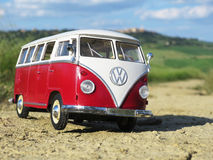Miniature VW Bulli 1962 on the rural road Stock Photos