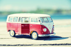Miniature VW Bulli 1962 on the rural road Stock Image