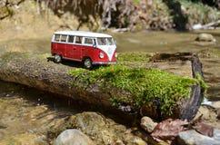 Miniature VW Bulli 1962 on the rural road Stock Photo