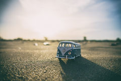 Miniature VW van on ground Royalty Free Stock Photos