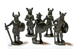 Miniature Warriors. A miniature sculpture of ancient warriors stock photos