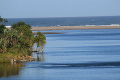 Miniature water feature. Palm Island View. Great texture on the sea bed and lake Royalty Free Stock Photography