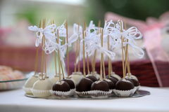 Miniature wedding desserts filled with truffles Stock Image