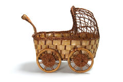 Miniature Wickerwork Pram Royalty Free Stock Photos