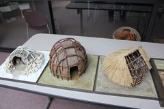 Miniature wigwams at displayed at the Fort Ancient Museum Stock Photo