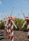 Miniature of wind turbine rows stock images