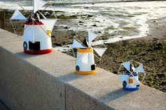Miniature windmills in Alcochete Portugal stock images