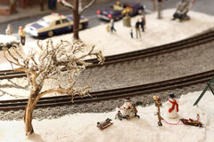 Miniature winter scene Royalty Free Stock Images