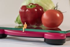 Miniature woman figure siting on the digital electronic bathroom scale for weight of human body. Fresh vegetables at shallow depth royalty free stock photography