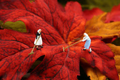 Miniature women raking autumn leaves royalty free stock photos
