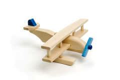 Miniature wood airplane Stock Photos