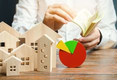 A miniature wooden houses and a pie chart. Businessman counts money. Concept of real estate market analysis and analytics. royalty free stock images