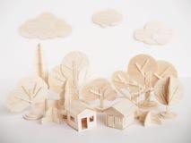 Miniature wooden model cutting artwork craft handmade minimal Stock Image