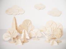 Miniature wooden model cutting artwork craft handmade minimal Royalty Free Stock Image