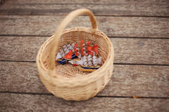 Miniature wooden model of a pirates ship Stock Photo