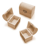 Miniature Wooden Treasure Boxes Royalty Free Stock Photography