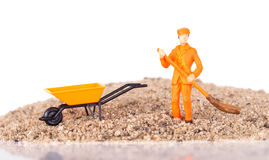Miniature worker is cleaning a keyboard Royalty Free Stock Image