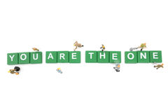 Miniature worker team building word You are the one Stock Images
