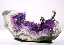 Miniature Workers in the Mining of Minerals Field Stock Photo