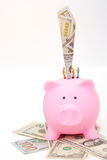 Miniature workers save banknote in piggy bank Royalty Free Stock Photos
