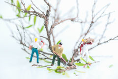 Miniature workmen working together in felling and cutting trees close up Stock Photography