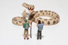 Miniaturen von Wanderern vor einer riesigen Klapperschlange Stockfoto