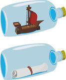 Miniatures in a bottle. Ship and letter is sealed up in glass Royalty Free Stock Image
