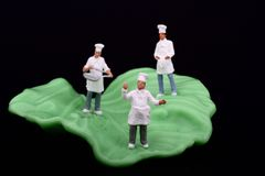 Miniatures of chef and salad leaf. Miniatures of three cooks and a salad leaf Royalty Free Stock Photo