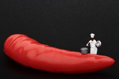 Miniatures of cook and red hot chili pepper Royalty Free Stock Photography