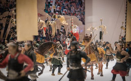 Miniatures of traditional Japanese soldiers in Osaka Castle. Royalty Free Stock Photo