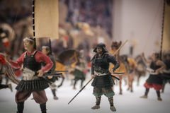 Miniatures of traditional Japanese soldiers in Osaka Castle. Stock Photos