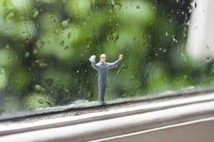 Miniaturfensterputzer Lizenzfreies Stockfoto