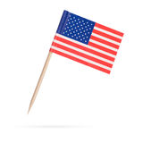 Miniaturflagge USA Getrennt auf weißem Hintergrund Stockfotografie