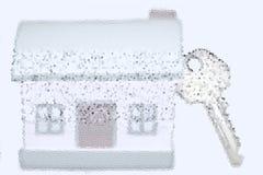 Miniaturhaus mit silbernem Schlüsselkonzept eines neuen Hauptimmobilien- und Eigentumskonzeptes vektor abbildung