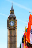 Miniaturised Shot Of Big Ben And Palace Of Westminster With Flags Royalty Free Stock Images