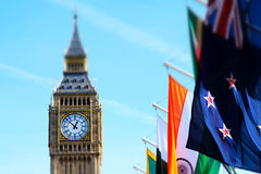 Miniaturised Shot Of Big Ben And Palace Of Westminster With Flags Stock Photos
