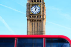 Miniaturised Shot Of Big Ben With Red Double Decker Bus In Foregr Stock Photos