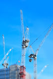 Miniaturised Shot Of Construction Site With Cranes Working On Off Stock Image