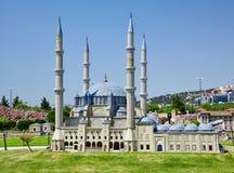 Miniaturk, Istanboel De koepels van Selimiye-Moskee in Edirne, Tur royalty-vrije stock afbeeldingen