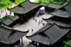 Miniaturlandschaft des historischen Hauses Stockfotos