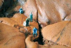 Miniaturleute: Dorfbewohner erforschen einen Teich Stockbild