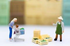 Miniaturleute: Einkauf im Markt für Kauf etwas notwendig Bildgebrauch für das Vermarkten, Geschäftskonzept Lizenzfreies Stockbild