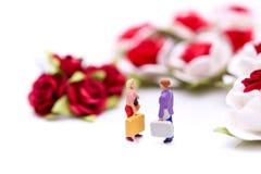 Miniaturleute: Paare der Liebe mit roten Rosen und weißen Rosen Lizenzfreie Stockfotografie