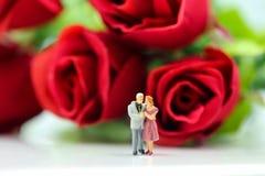 Miniaturleute: Paare der Liebe mit Rotrose, -liebhaber oder -valenti Lizenzfreies Stockfoto