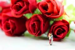 Miniaturleute: Paare der Liebe mit Rotrose, -liebhaber oder -valenti Lizenzfreie Stockfotos