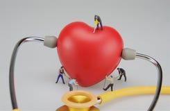 Miniaturleute sind mitfühlendes rotes Herz und Stethoskop stockbild