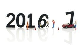 Miniaturmarionetten bereit zu 2017 Stockfotografie
